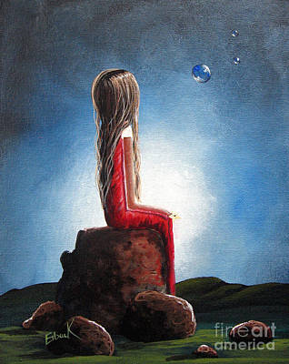 Floating Girl Painting - Three Wishes By Shawna Erback by Shawna Erback