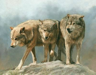 Timber Wolf Painting - Three Wolves by David Stribbling