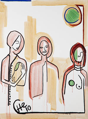 Three Women 40x30 Art Print by Hans Magden