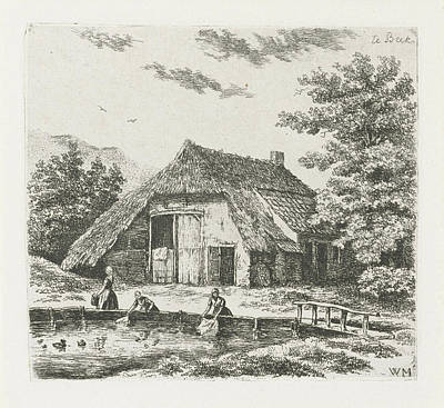 Three Women Doing Laundry In The Water For A Farm In Beek Print by Christiaan Wilhelmus Moorrees