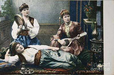 Photograph - Three Women In 1908 Playing Music In Oriental Style by Patricia Hofmeester