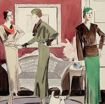 Three Women In A Living Room Art Print by R.S. Grafstrom