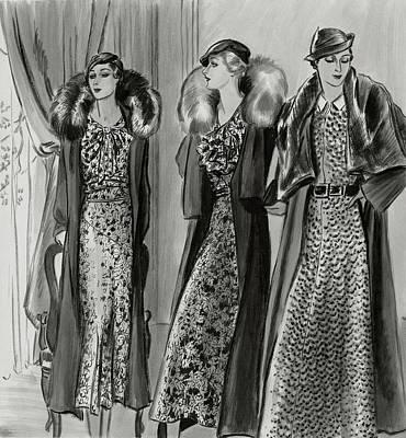 White Dress Digital Art - Three Women In Coats By Molyneux by Creelman
