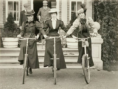 Bicyclist Photograph - Three Women On Bicycles, Early 1900s by English Photographer