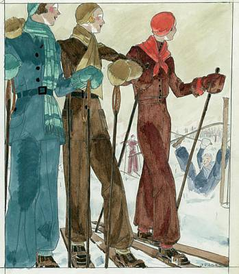 Winter Sports Digital Art - Three Women On The Ski Slopes Wearing Suits by Jean Pages