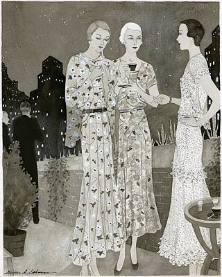 Dinner Digital Art - Three Women Outdoors Wears Jay-thorpe by Barbara E. Schwinn