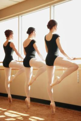 Three Women Practicing Dance Art Print