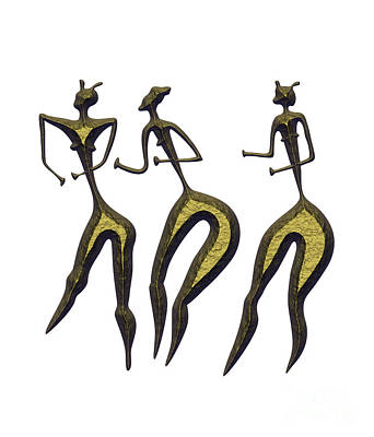 Naive Mixed Media - Three Women - Primitive Art by Michal Boubin