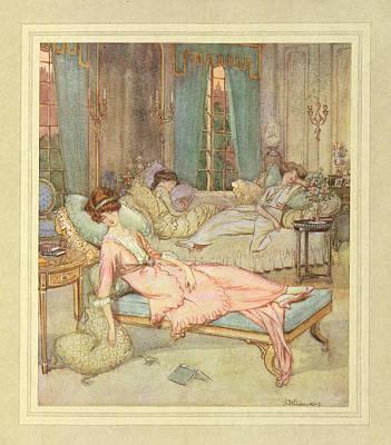 Three Women Sleeping Print by British Library