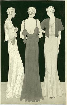Three Women Standing In A Circle Art Print by Artist Unknown