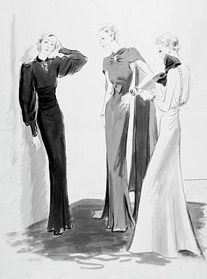 Evening Gown Digital Art - Three Women Wearing Evening Dresses by Artist Unknown