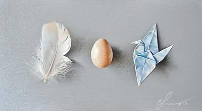 Drawing - Three Wonders by Elena Kolotusha