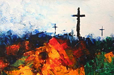 The Wooden Cross Painting - Three Wooden Crosses by Kume Bryant
