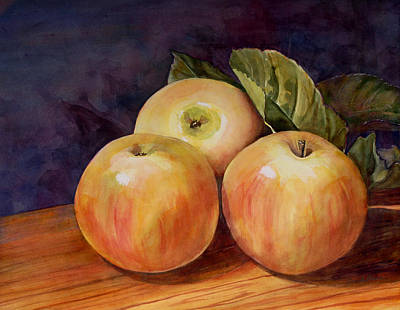 Apple Watercolor Painting - Three Yellow Apples Still Life by Blenda Studio