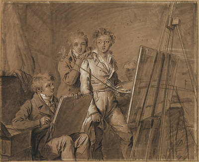 Heightened Painting - Three Young Artists In A Studio Louis-léopold Boilly by Litz Collection
