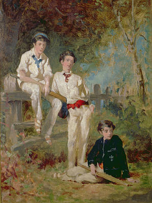 Bat Boy Painting - Three Young Cricketers, C.1883 by George Elgar Hicks
