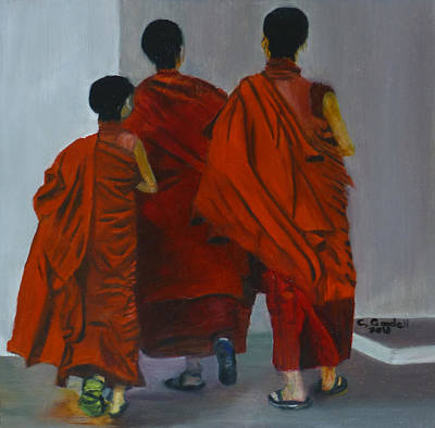 Painting - Three Young Monks by Claudia Goodell