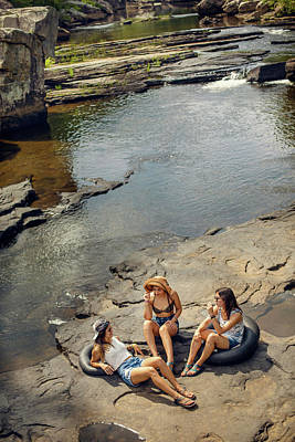 Little River Photograph - Three Young Women Hike And Play by Corey Nolen