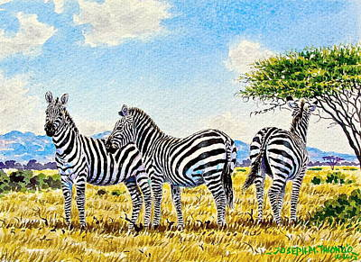 Painting - Three Zebras by Joseph Thiongo