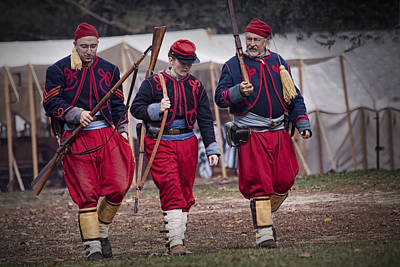 Photograph - Three Zouave Reenactor Civil War Soldiers by Randall Nyhof