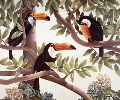 Toucan Painting - Threecans  by Laura Regan