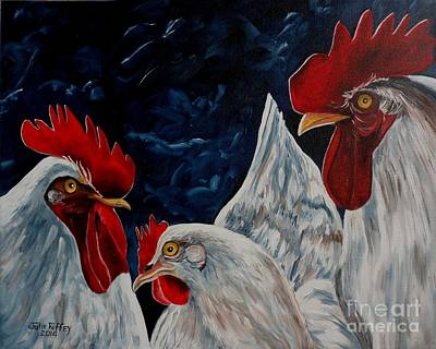 Love Triangle Painting - Three's A Crowd   -    Roosters -chicken by Julie Brugh Riffey