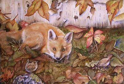 Fox Kit Painting - Three's A Crowd by Patricia Pushaw