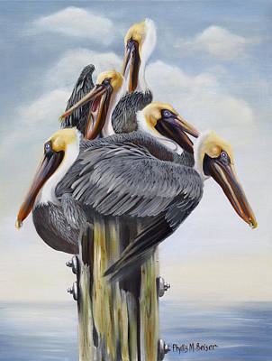 Pylon Painting - Threes A Crowd by Phyllis Beiser
