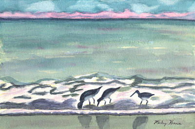 Painting - Three's Company At The Beach by Mickey Krause