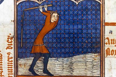 Threshing Grain, 14th C Art Print