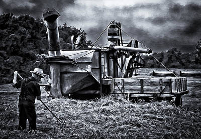 Keck Photograph - Threshing The Wheat by F Leblanc