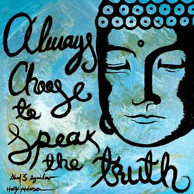 Large Buddha Painting - Throat Chakra Vishuddha Blue by Holly Anderson and Pato Aguilar
