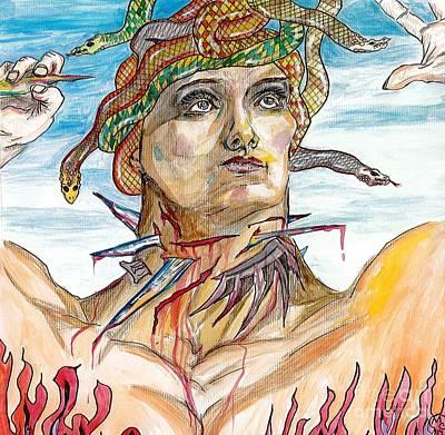 Medusa Mixed Media - Throat Of Glass by Michela Carlson