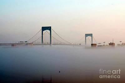 Digital Art - Throggs Neck Bridge In The Fog by Dale   Ford
