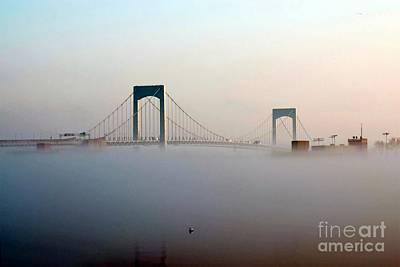 Digital Art - Throggs Neck Bridge In The Fog by Dale   Ford