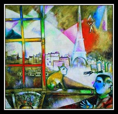 Chagall Painting - Through A Paris Window by Marc Chagall