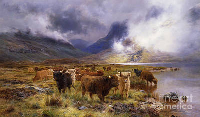 Riverbank Painting - Through Glencoe By  Way To The Tay by Louis Bosworth Hurt