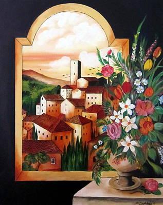 Through The Arc A Village Art Print by Roberto Gagliardi