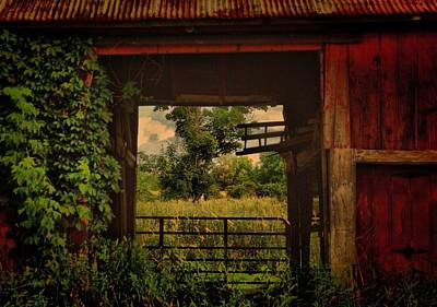 Through The Barn Door Art Print