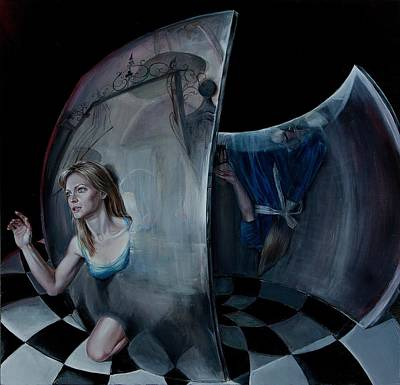 Alice In Wonderland Painting - Through The Looking Glass by Evelyn Astegno