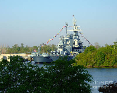 Photograph - Ussnc Battleshipthrough The Trees by Bob Sample