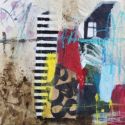 Abstract Collage Mixed Media - Through The Window by Elena Nosyreva