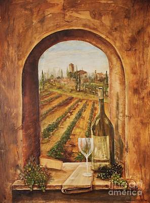 Italian Wine Painting - Through The Window by Jodi Monahan
