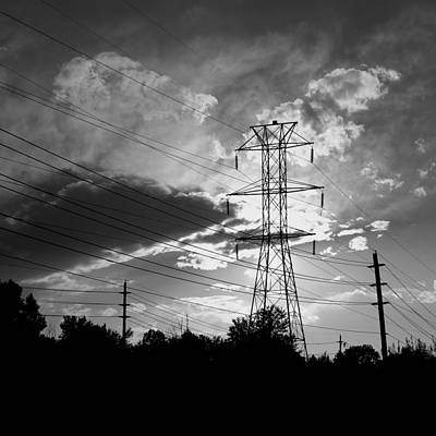 Black And White Photograph - Through The Wires by Tyler Cheshire