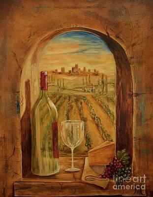 Italian Wine Painting - Through This Window by Jodi Monahan