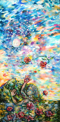 Change Systems Painting - Throwing Flowers To The Moon by Susan Schiffer