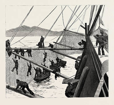 Throwing Out Torpedo-nets To Protect The Sultan Art Print by English School
