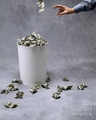 Throwing Us Currency Into A Bin Art Print
