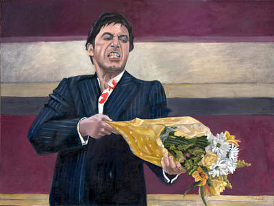 Crime Drama Movie Painting - Thug With Flowers No. 2 by Thomas Weeks