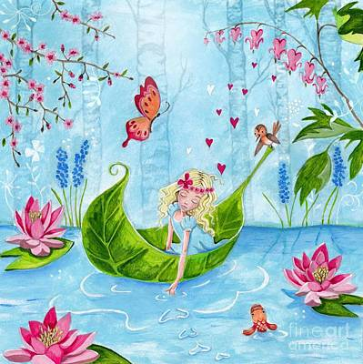 Flower Pink Fairy Child Painting - Thumbelina 1 by Caroline Bonne-Muller